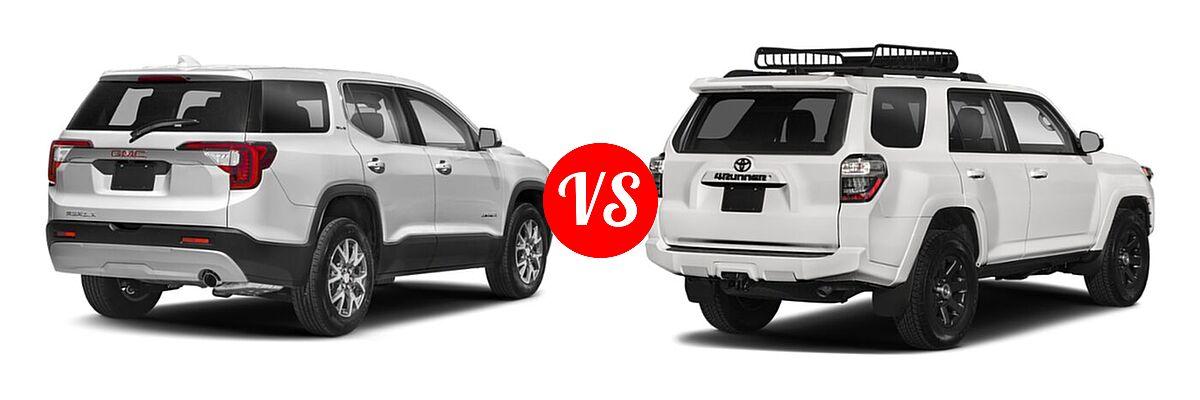 2021 GMC Acadia SUV AT4 / SL / SLE / SLT vs. 2021 Toyota 4Runner SUV Trail Special Edition - Rear Right Comparison