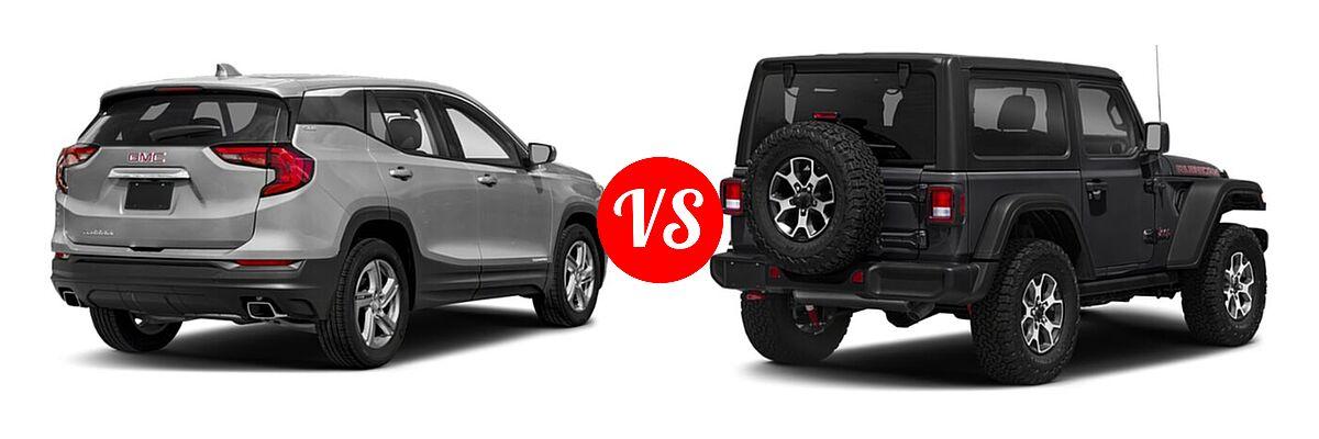 2021 GMC Terrain SUV SL / SLE vs. 2021 Jeep Wrangler SUV Rubicon - Rear Right Comparison