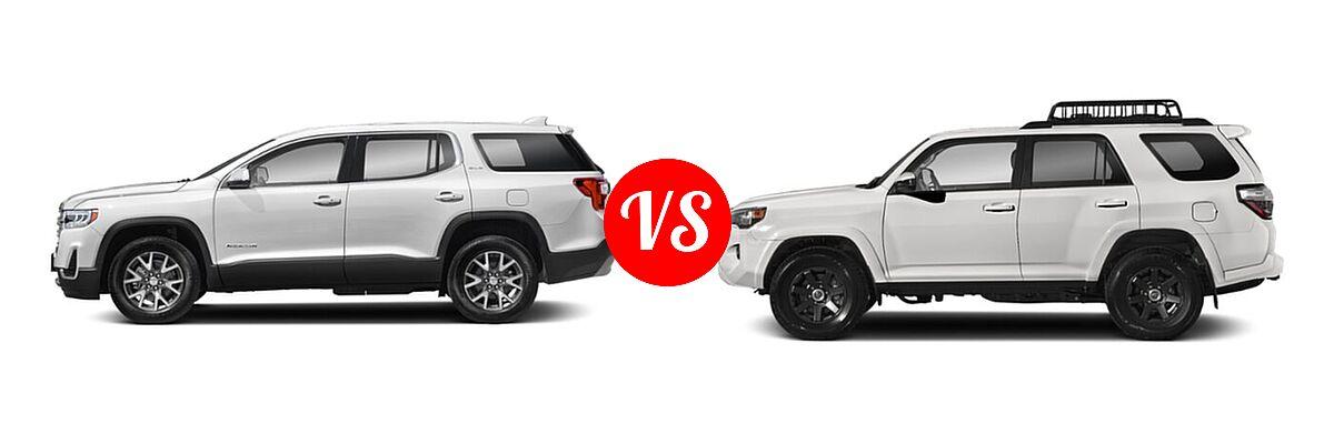 2021 GMC Acadia SUV AT4 / SL / SLE / SLT vs. 2021 Toyota 4Runner SUV Trail Special Edition - Side Comparison