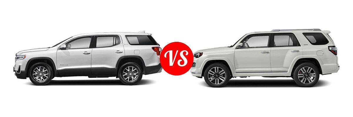 2021 GMC Acadia SUV AT4 / SL / SLE / SLT vs. 2021 Toyota 4Runner SUV Limited - Side Comparison
