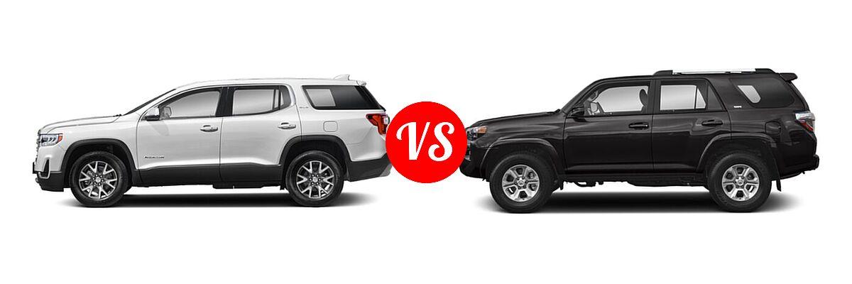 2021 GMC Acadia SUV AT4 / SL / SLE / SLT vs. 2021 Toyota 4Runner SUV SR5 / SR5 Premium - Side Comparison