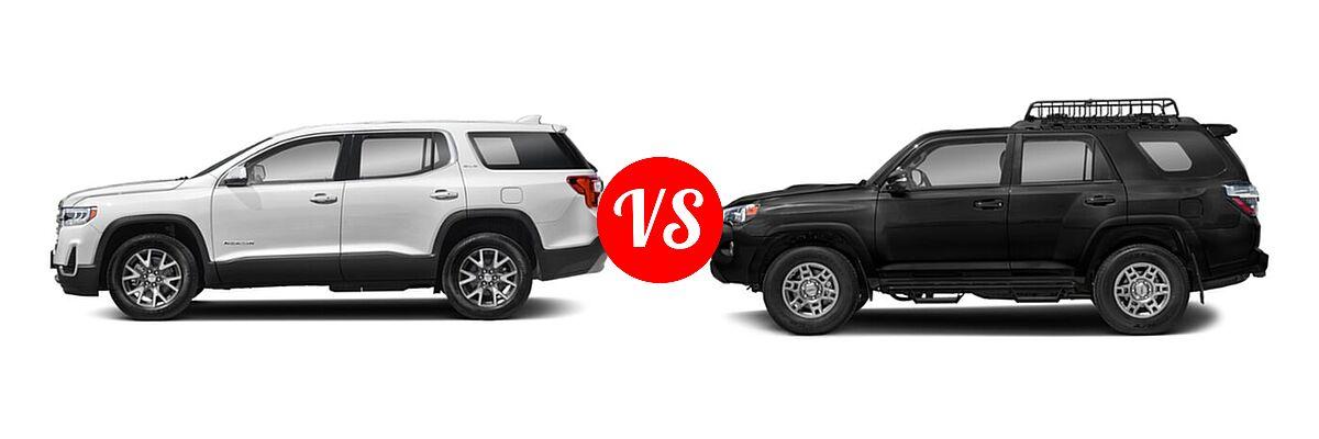 2021 GMC Acadia SUV AT4 / SL / SLE / SLT vs. 2021 Toyota 4Runner SUV Venture - Side Comparison