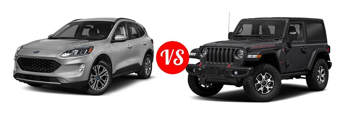 2021 Ford Escape SUV SEL vs. 2021 Jeep Wrangler SUV Rubicon - Front Left Comparison