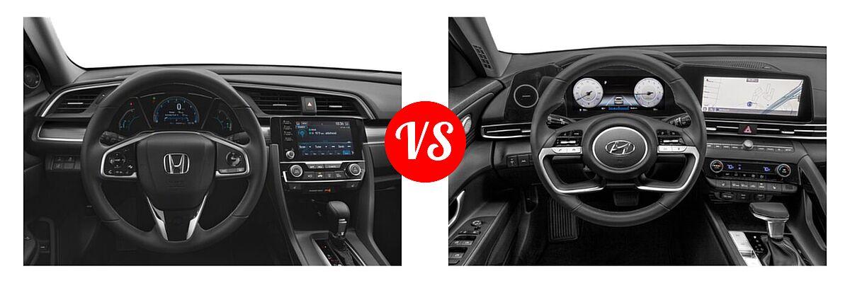 2021 Honda Civic Sedan EX-L vs. 2021 Hyundai Elantra Sedan N Line - Dashboard Comparison