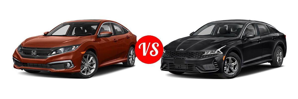 2021 Honda Civic Sedan EX-L vs. 2021 Kia K5 Sedan GT / LX / LXS - Front Left Comparison