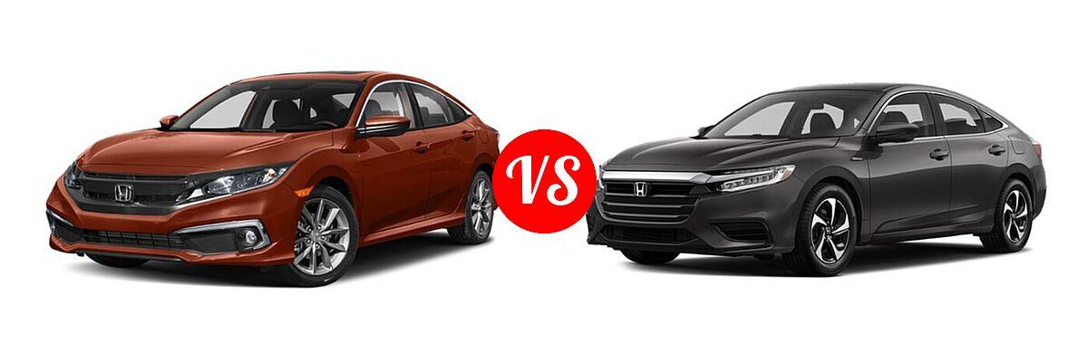 2021 Honda Civic Sedan EX-L vs. 2021 Honda Insight Sedan Hybrid LX - Front Left Comparison