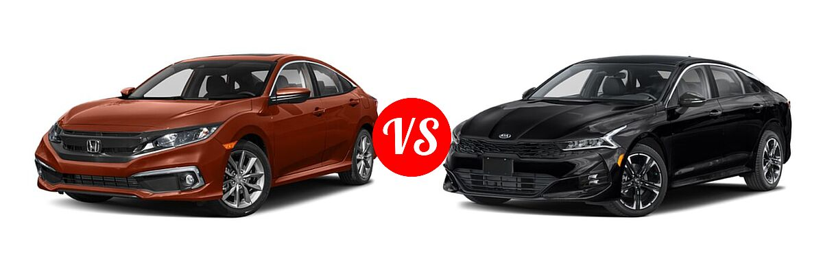 2021 Honda Civic Sedan EX-L vs. 2021 Kia K5 Sedan GT-Line - Front Left Comparison