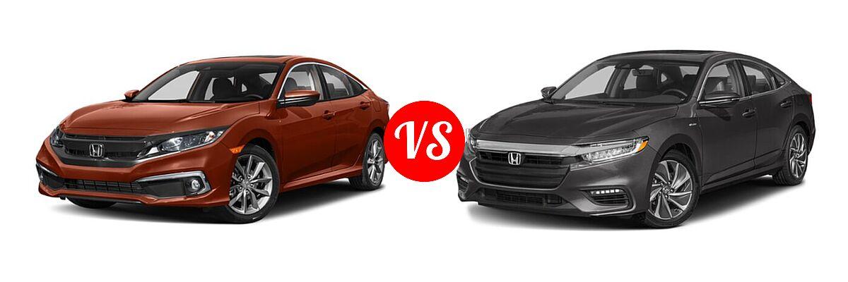 2021 Honda Civic Sedan EX-L vs. 2021 Honda Insight Sedan Hybrid Touring - Front Left Comparison