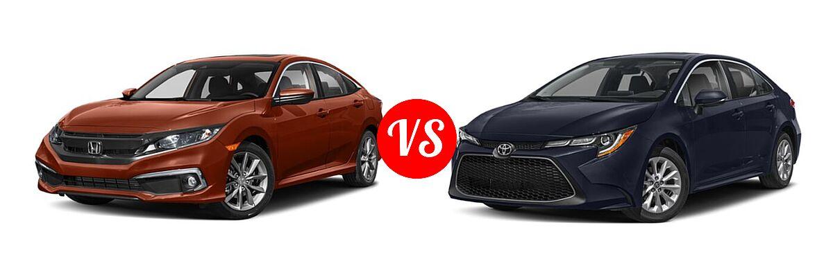 2021 Honda Civic Sedan EX-L vs. 2021 Toyota Corolla Sedan XLE - Front Left Comparison