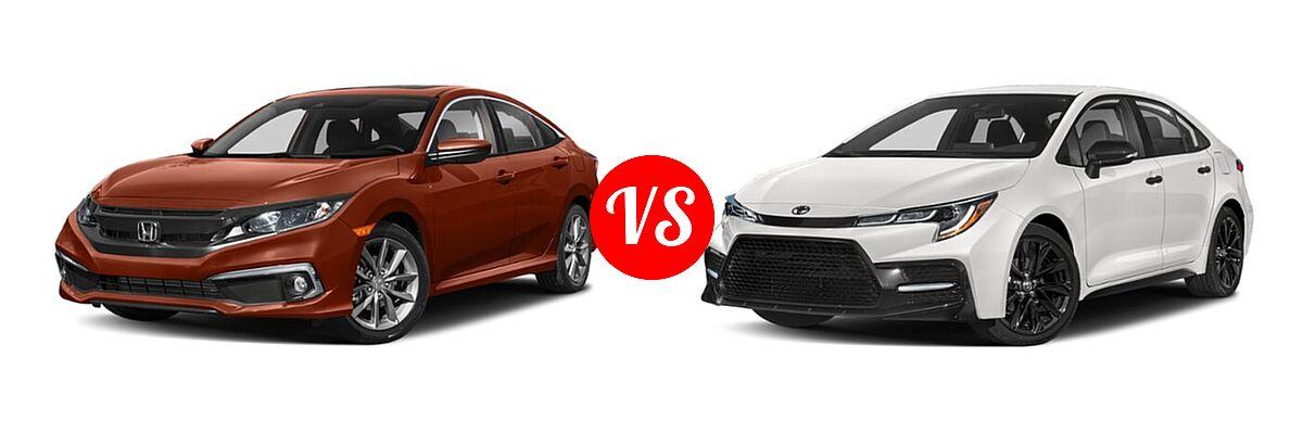 2021 Honda Civic Sedan EX-L vs. 2021 Toyota Corolla Sedan Nightshade - Front Left Comparison