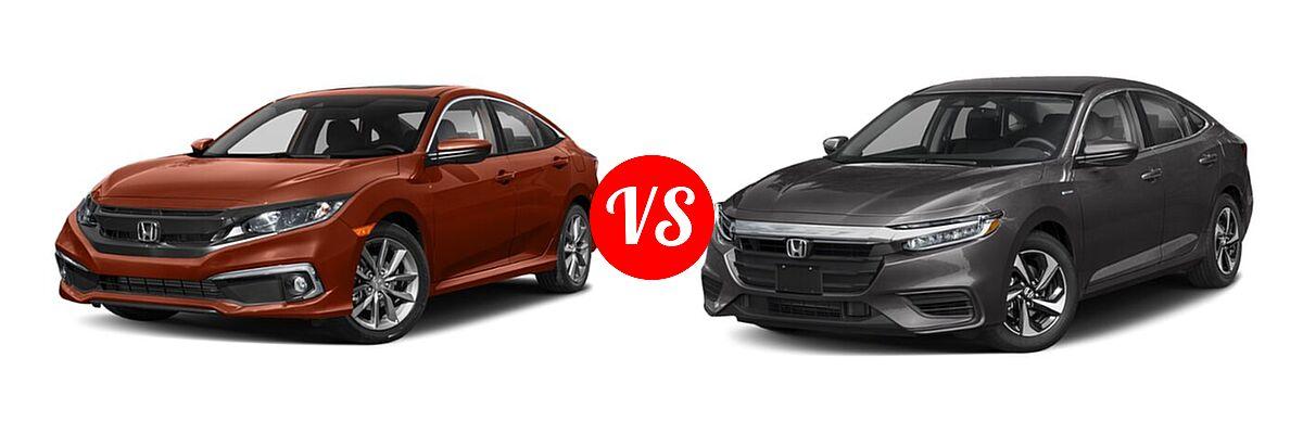 2021 Honda Civic Sedan EX-L vs. 2021 Honda Insight Sedan Hybrid EX - Front Left Comparison