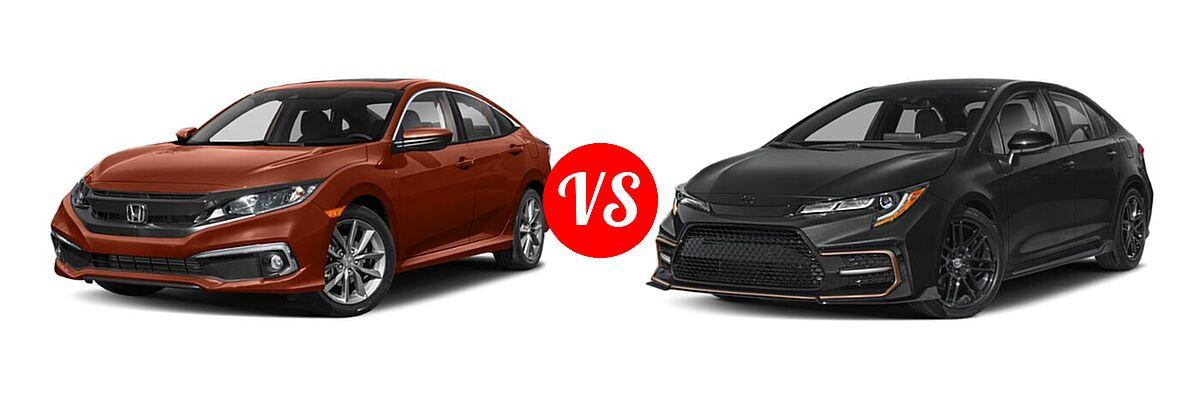 2021 Honda Civic Sedan EX-L vs. 2021 Toyota Corolla Sedan APEX SE - Front Left Comparison