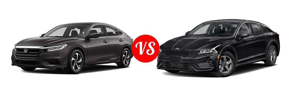 2021 Honda Insight Sedan Hybrid LX vs. 2021 Kia K5 Sedan GT / LX / LXS - Front Left Comparison