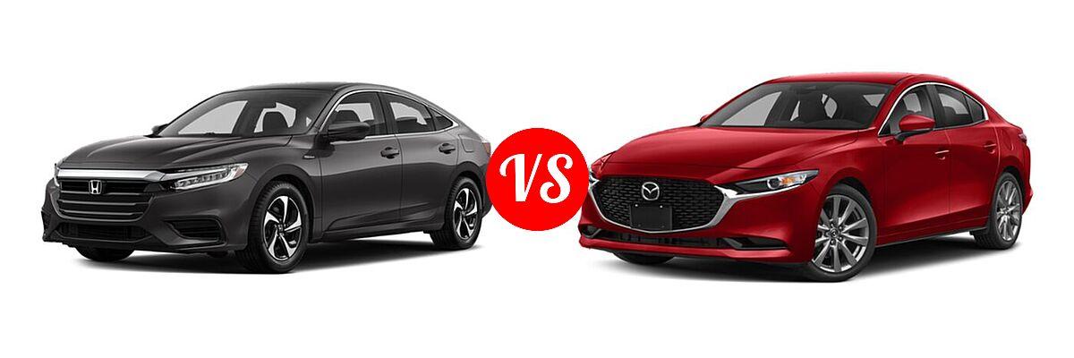 2021 Honda Insight Sedan Hybrid LX vs. 2021 Mazda 2 Sedan Preferred - Front Left Comparison