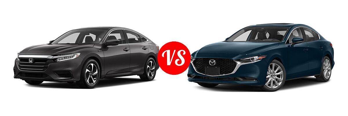 2021 Honda Insight Sedan Hybrid LX vs. 2021 Mazda 2 Sedan Premium - Front Left Comparison