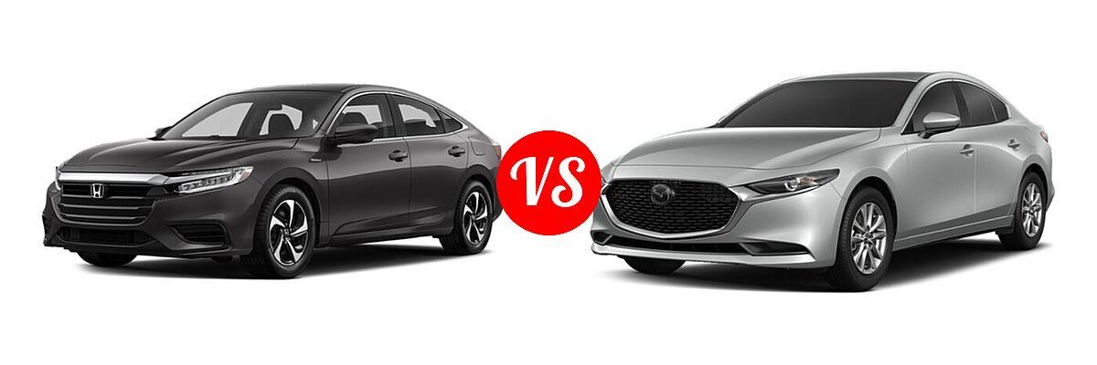 2021 Honda Insight Sedan Hybrid LX vs. 2021 Mazda 2 Sedan 2.0 - Front Left Comparison