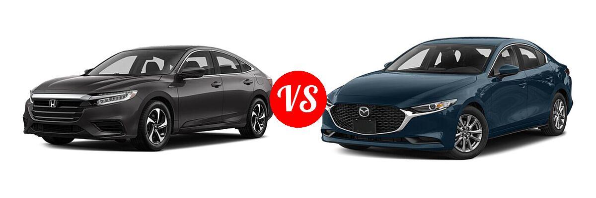 2021 Honda Insight Sedan Hybrid LX vs. 2021 Mazda 2 Sedan 2.5 S - Front Left Comparison