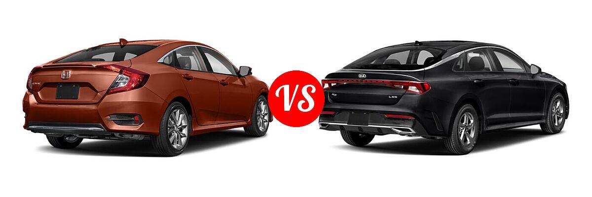 2021 Honda Civic Sedan EX-L vs. 2021 Kia K5 Sedan GT / LX / LXS - Rear Right Comparison