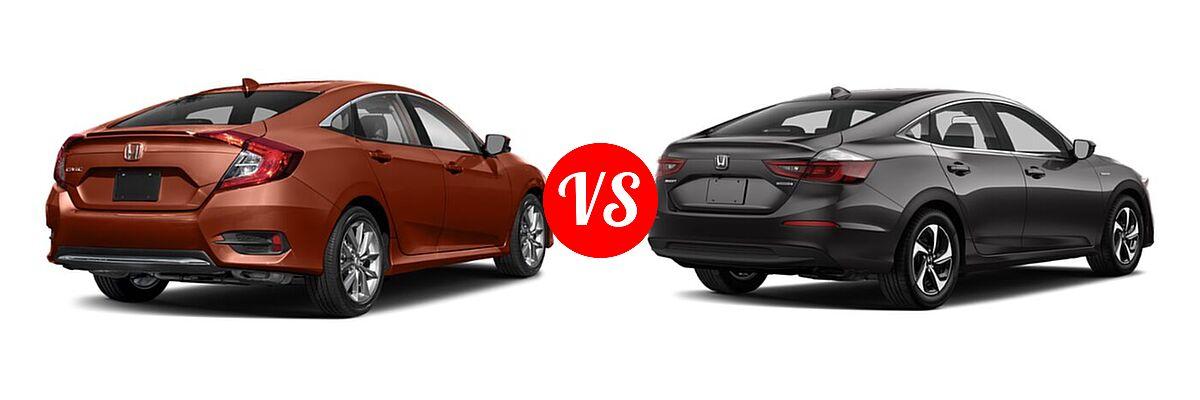 2021 Honda Civic Sedan EX-L vs. 2021 Honda Insight Sedan Hybrid LX - Rear Right Comparison