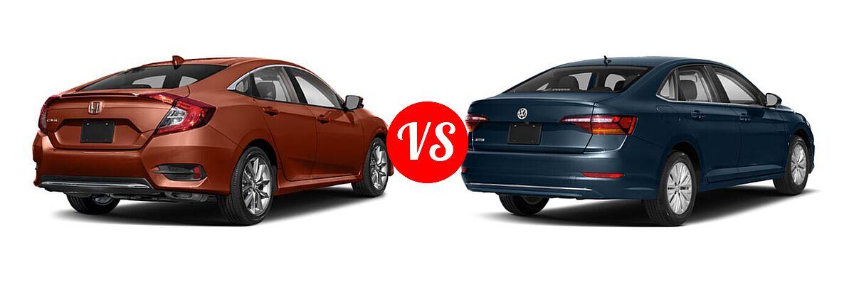 2021 Honda Civic Sedan EX-L vs. 2021 Volkswagen Jetta Sedan S / SE / SEL / SEL Premium - Rear Right Comparison