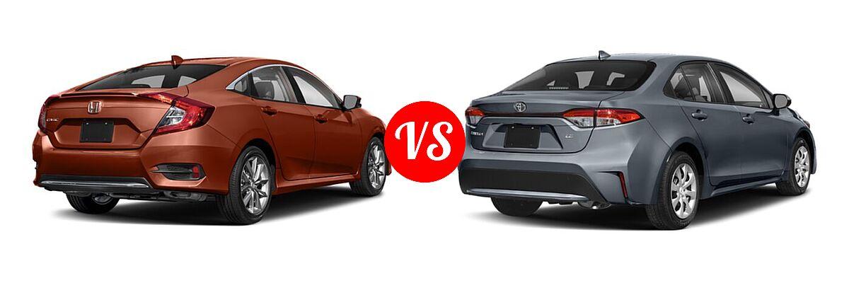 2021 Honda Civic Sedan EX-L vs. 2021 Toyota Corolla Sedan L / LE - Rear Right Comparison
