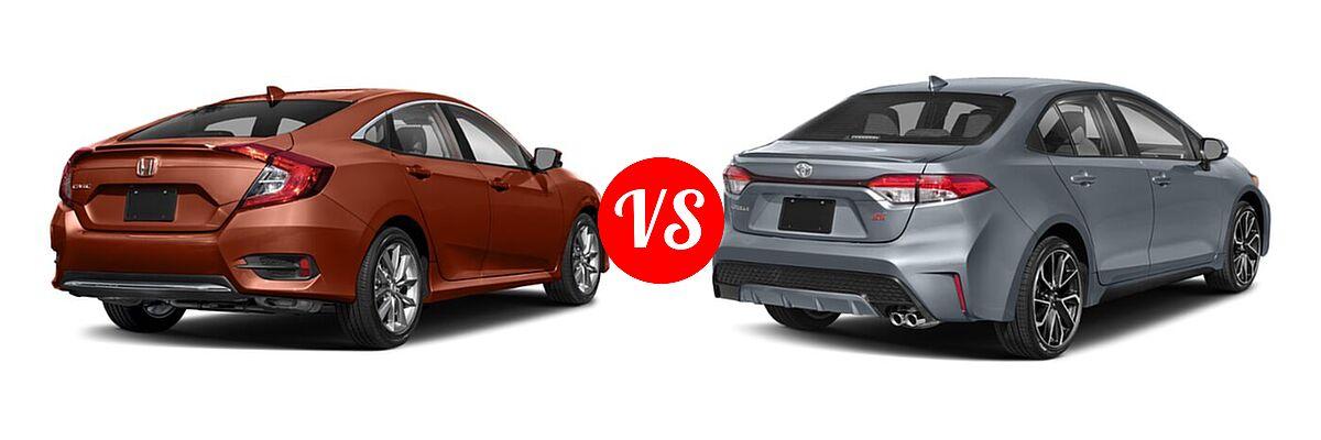 2021 Honda Civic Sedan EX-L vs. 2021 Toyota Corolla Sedan SE / XSE - Rear Right Comparison
