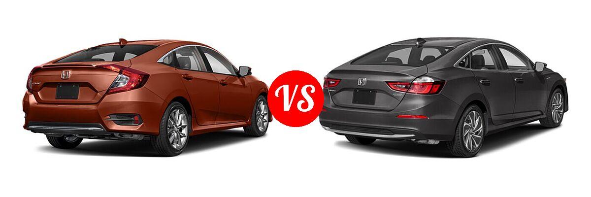 2021 Honda Civic Sedan EX-L vs. 2021 Honda Insight Sedan Hybrid Touring - Rear Right Comparison