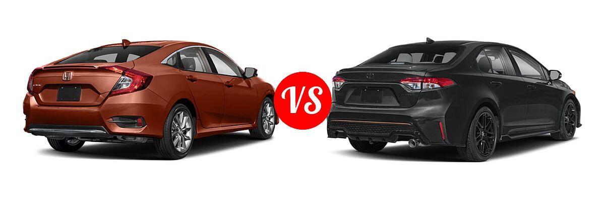 2021 Honda Civic Sedan EX-L vs. 2021 Toyota Corolla Sedan APEX SE - Rear Right Comparison