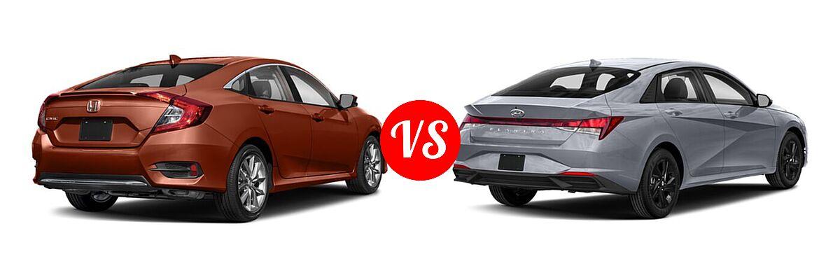 2021 Honda Civic Sedan EX-L vs. 2021 Hyundai Elantra Sedan  - Rear Right Comparison