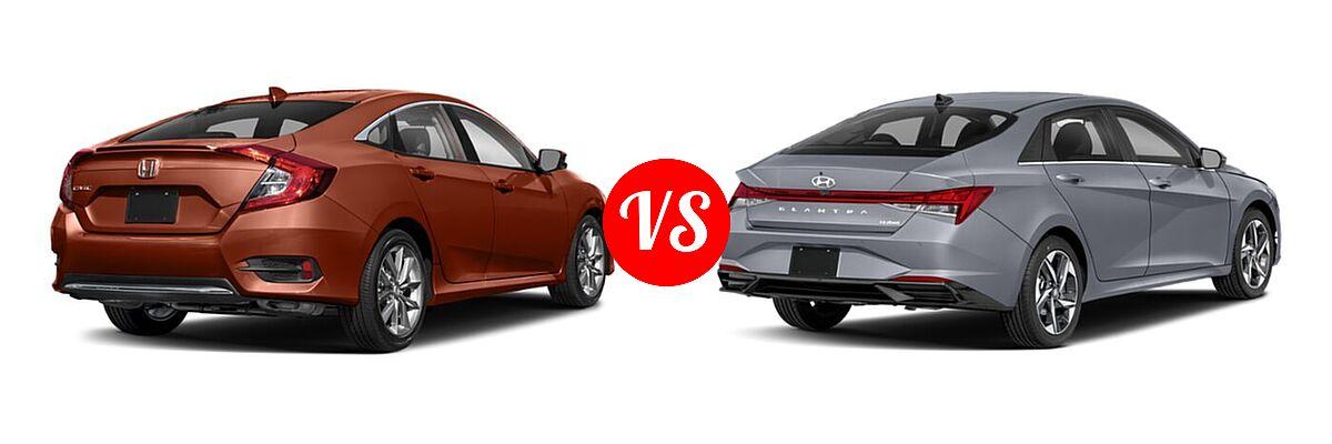 2021 Honda Civic Sedan EX-L vs. 2021 Hyundai Elantra Sedan N Line - Rear Right Comparison