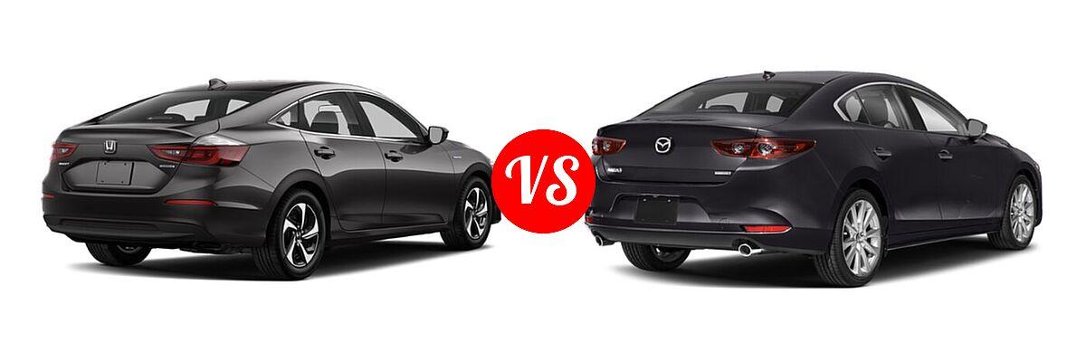 2021 Honda Insight Sedan Hybrid LX vs. 2021 Mazda 2 Sedan Preferred - Rear Right Comparison