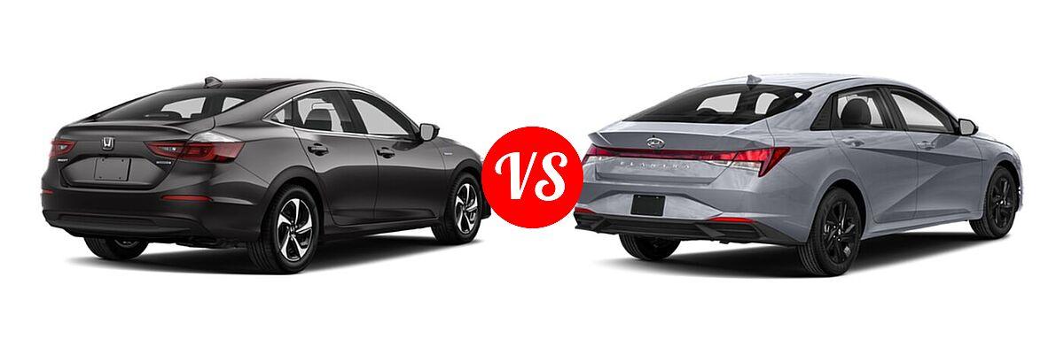 2021 Honda Insight Sedan Hybrid LX vs. 2021 Hyundai Elantra Sedan  - Rear Right Comparison