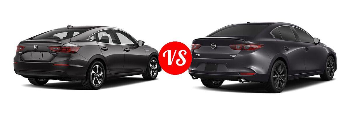 2021 Honda Insight Sedan Hybrid LX vs. 2021 Mazda 2 Sedan 2.5 Turbo Premium Plus - Rear Right Comparison