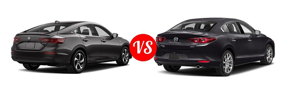 2021 Honda Insight Sedan Hybrid LX vs. 2021 Mazda 2 Sedan Premium - Rear Right Comparison