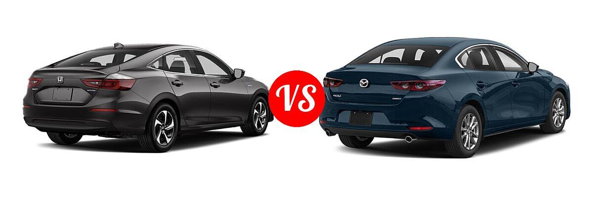 2021 Honda Insight Sedan Hybrid LX vs. 2021 Mazda 2 Sedan 2.5 S - Rear Right Comparison