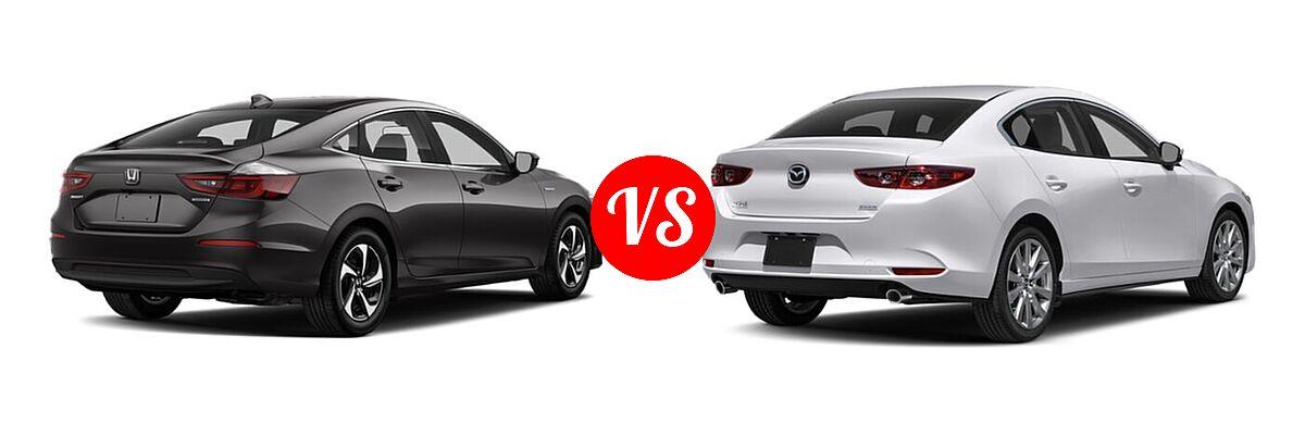 2021 Honda Insight Sedan Hybrid LX vs. 2021 Mazda 2 Sedan Select - Rear Right Comparison