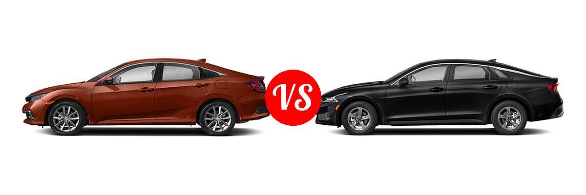 2021 Honda Civic Sedan EX-L vs. 2021 Kia K5 Sedan GT / LX / LXS - Side Comparison