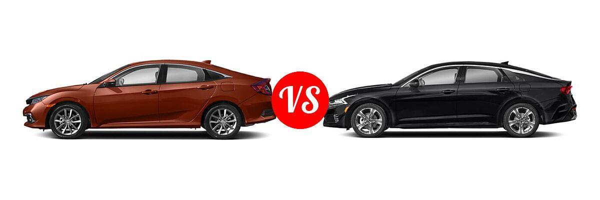 2021 Honda Civic Sedan EX-L vs. 2021 Kia K5 Sedan EX - Side Comparison