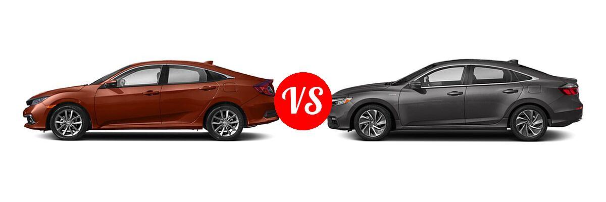 2021 Honda Civic Sedan EX-L vs. 2021 Honda Insight Sedan Hybrid Touring - Side Comparison