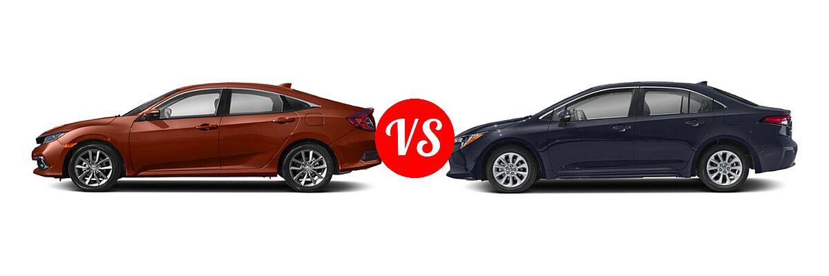 2021 Honda Civic Sedan EX-L vs. 2021 Toyota Corolla Sedan XLE - Side Comparison