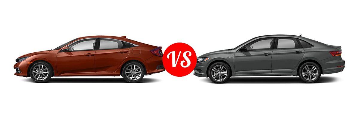 2021 Honda Civic Sedan EX-L vs. 2021 Volkswagen Jetta Sedan R-Line - Side Comparison