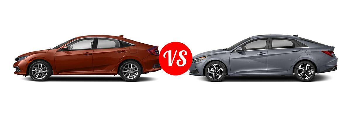 2021 Honda Civic Sedan EX-L vs. 2021 Hyundai Elantra Sedan N Line - Side Comparison