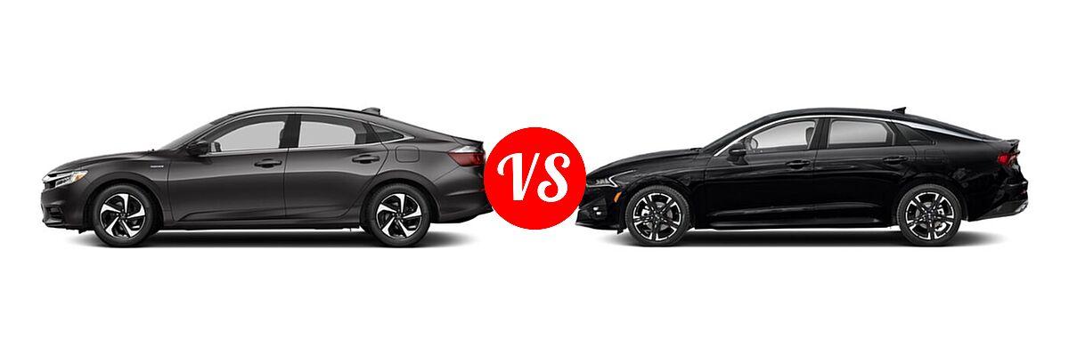 2021 Honda Insight Sedan Hybrid LX vs. 2021 Kia K5 Sedan GT-Line - Side Comparison