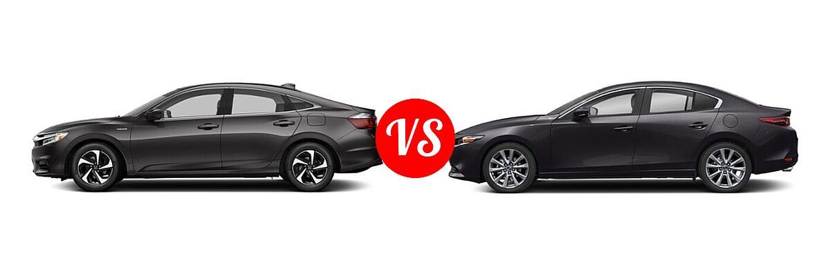 2021 Honda Insight Sedan Hybrid LX vs. 2021 Mazda 2 Sedan Select - Side Comparison