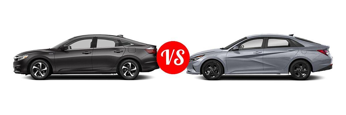 2021 Honda Insight Sedan Hybrid LX vs. 2021 Hyundai Elantra Sedan  - Side Comparison