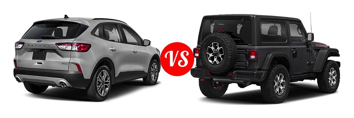 2021 Ford Escape SUV SEL vs. 2021 Jeep Wrangler SUV Rubicon - Rear Right Comparison