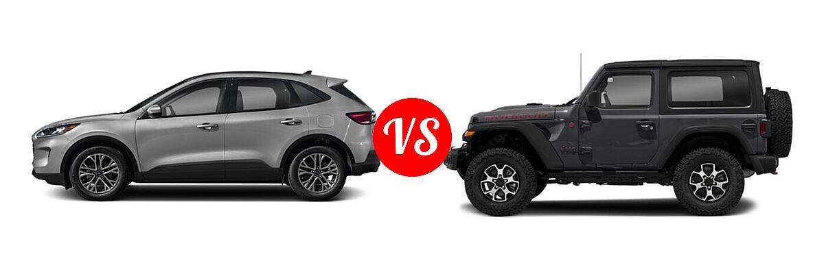 2021 Ford Escape SUV SEL vs. 2021 Jeep Wrangler SUV Rubicon - Side Comparison