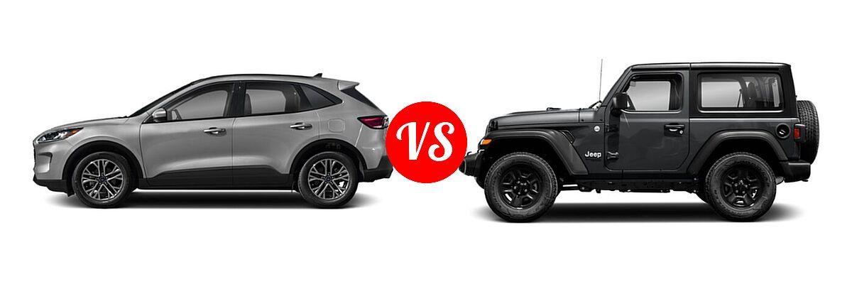 2021 Ford Escape SUV SEL vs. 2021 Jeep Wrangler SUV 80th Anniversary / Freedom / Islander / Sport / Sport S / Willys / Willys Sport - Side Comparison