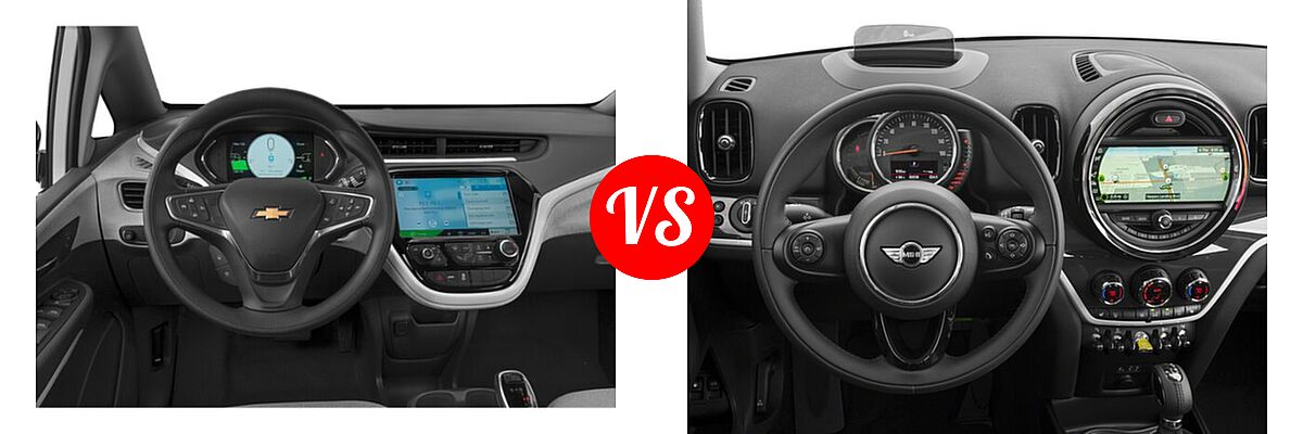 2021 Chevrolet Bolt EV Hatchback Electric LT vs. 2018 MINI Countryman Wagon Hybrid Cooper S E - Dashboard Comparison