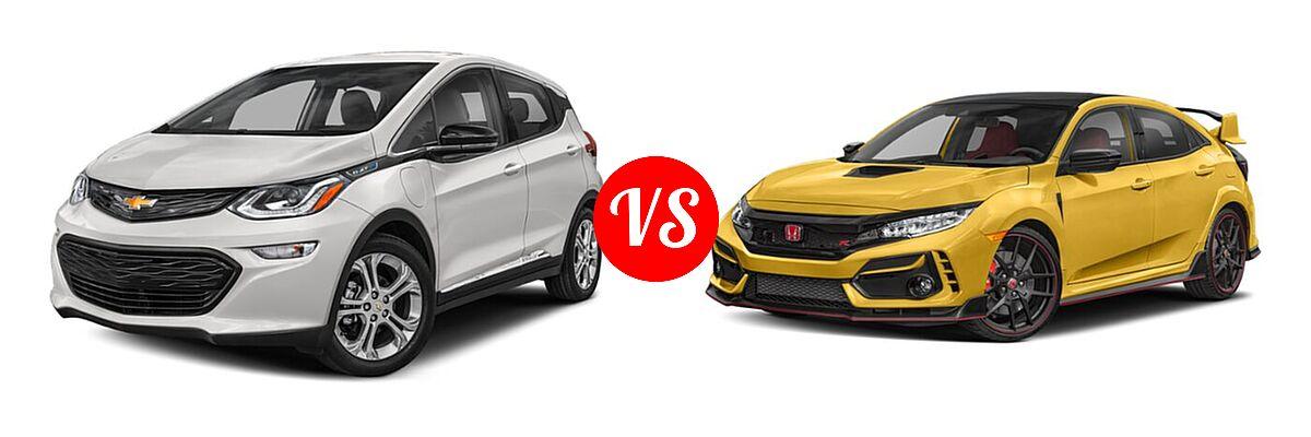 2021 Chevrolet Bolt EV Hatchback Electric LT vs. 2021 Honda Civic Type R Hatchback Limited Edition - Front Left Comparison